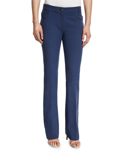 Four-Way Stretch Flare-Leg Pants, Denim