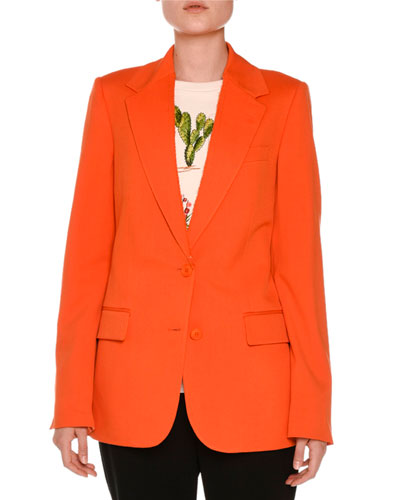 Frayed Notch-Collar Two-Button Blazer
