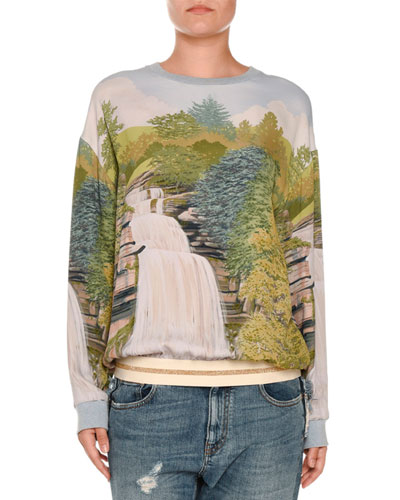 Waterfall-Print Sweatshirt-Style Blouse, Multi