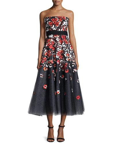 Strapless Poppy Lace Tea-Length Cocktail Dress
