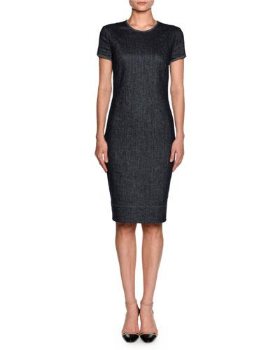 Denim Short-Sleeve Crewneck Sheath Dress, Indigo Blue