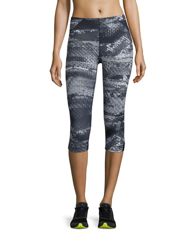 Motus II Capri Compression Tights, Asphalt Gray Reptile Print
