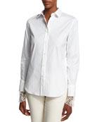Brunello Cucinelli Poplin Blouse w/Scalloped Lace Cuffs, White
