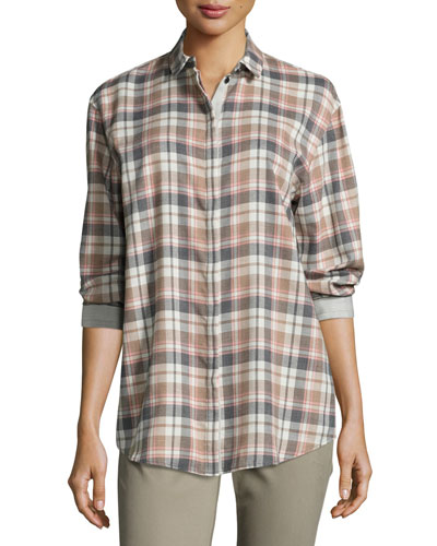 Sabira Long-Sleeve Madras Plaid Blouse, Femme Pink Multi