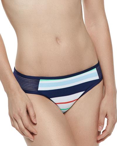 Mesh-Side Striped Swim Bottom