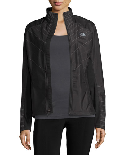 Isotherm Line-Print Weather-Resistant Running Jacket, TNF Black