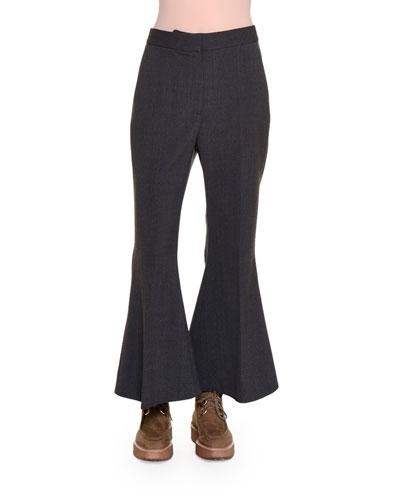 Flare-Leg Cropped Pants, Granite