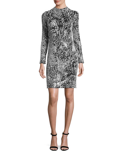 Flocked-Sequin Long-Sleeve Cocktail Dress, Multicolor