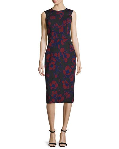 Sleeveless Poppy-Print Sheath Dress