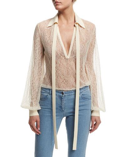Long-Sleeve Self-Tie Sheer Lace Blouse, Vanilla