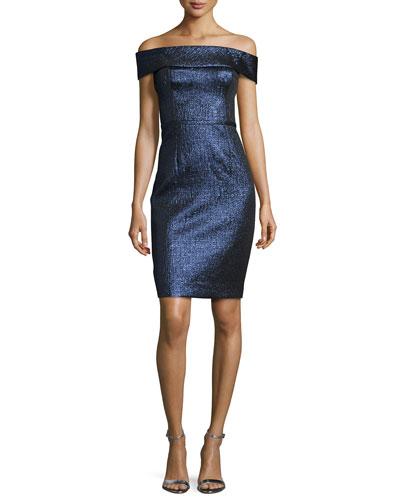 Off-the-Shoulder Metallic Sheath Dress, Sapphire