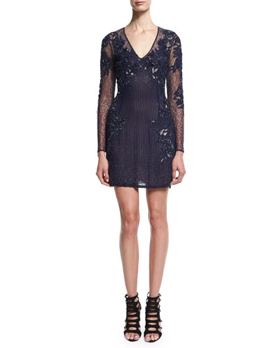Long-Sleeve Embellished Cocktail Dress, Indigo