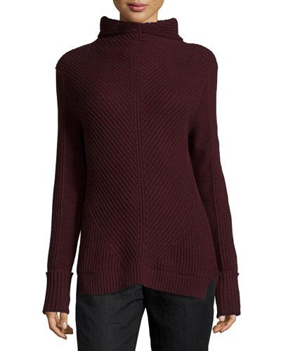 Directional-Rib Turtleneck Sweater