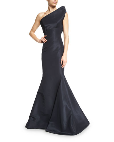 Silk Faille Structured One-Shoulder Gown