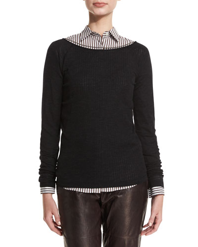Monili-String Ribbed Sweater, Onyx