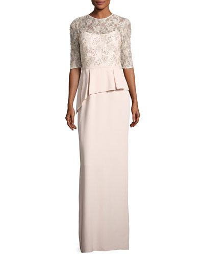Lace Bodice Peplum Column Gown
