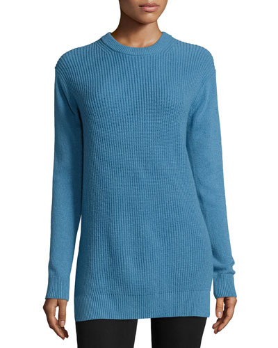 Long-Sleeve Shaker-Knit Cashmere Sweater