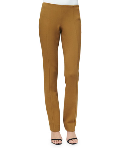 Straight-Leg Crepe Pants, Dark Sulfur