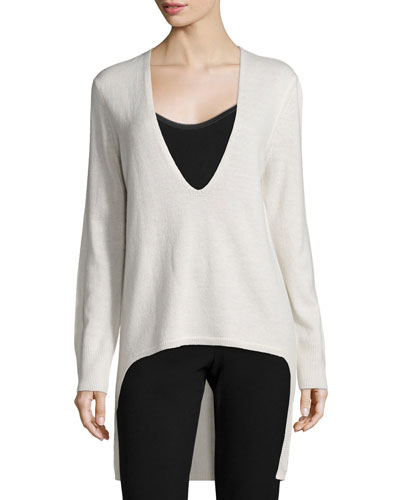 Long-Sleeve High-Low Sweater