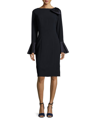 Bell-Sleeve Crepe Sheath Dress, Navy