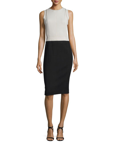 Sleeveless Colorblock Sheath Dress, Silver/Black