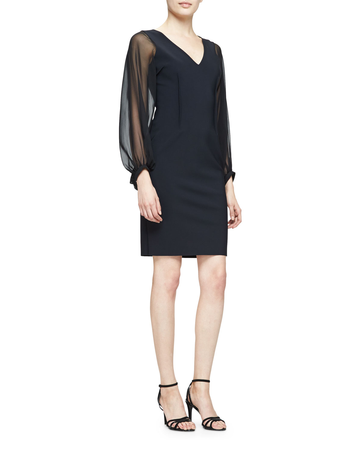 Long-Sheer-Sleeve Sheath Cocktail Dress, Black