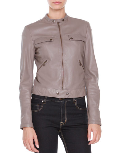 Leather Zip-Front Jacket, Dust