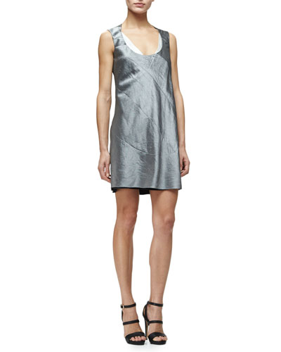 Sleeveless Scoop-Neck Shift Dress, Aluminum