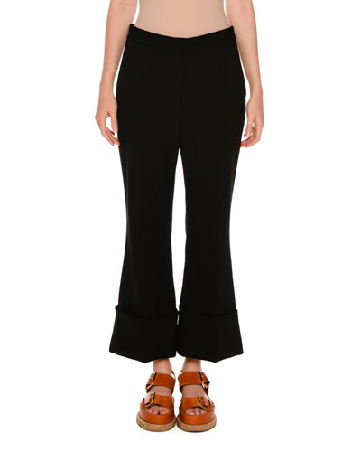 Cuffed Kick Flare Pants, Black