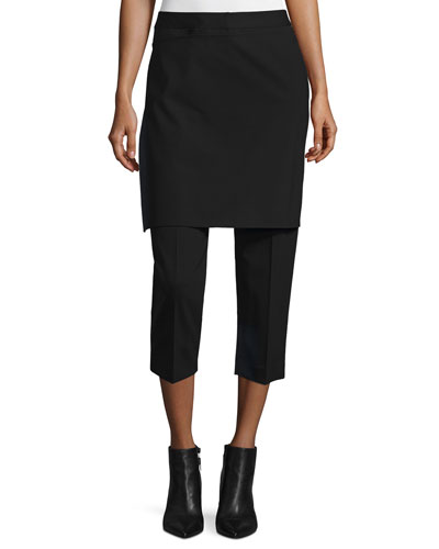 Cropped Apron-Front Pants