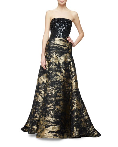 Sequined Strapless Ribbon Toile Gown, Gold/Black
