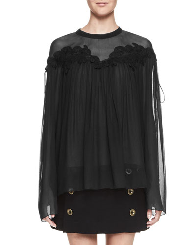 Cherry-Lace Georgette Swing Blouse, Black