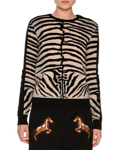 Zebra Intarsia Pullover Sweater, Multicolor