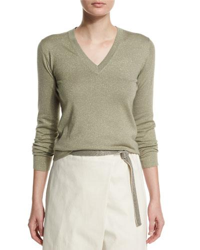 Long-Sleeve V-Neck Metallic Sweater, Green Tea