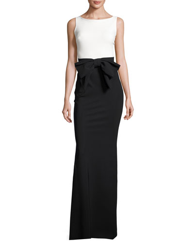 Sleeveless Two-Tone Jersey Column Gown, Black/White