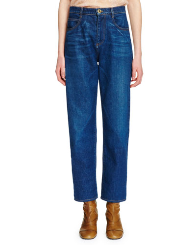 High-Waist Straight-Leg Jeans, Denim