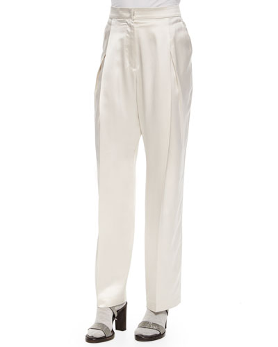 Satin Pleated Wide-Leg Pants