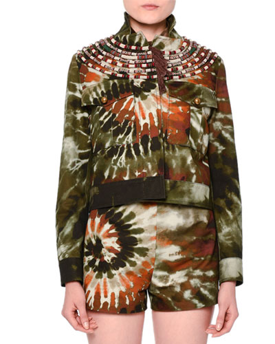 Tie-Dye Embroidered Cropped Jacket, Orange/Green