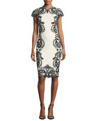 Cap-Sleeve Boat-Neck Lace Embroidered Cocktail Dress