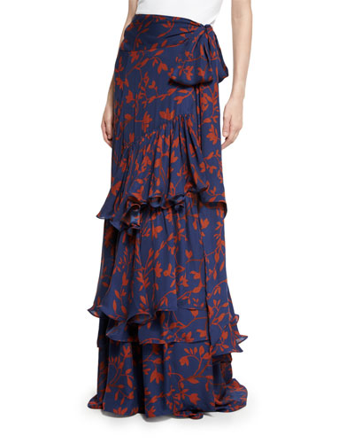Laeta Floral Tiered Maxi Skirt, Navy/Burgundy