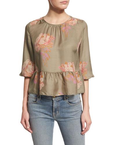 The Honey Floral-Print Peplum Shirt, Army Rose