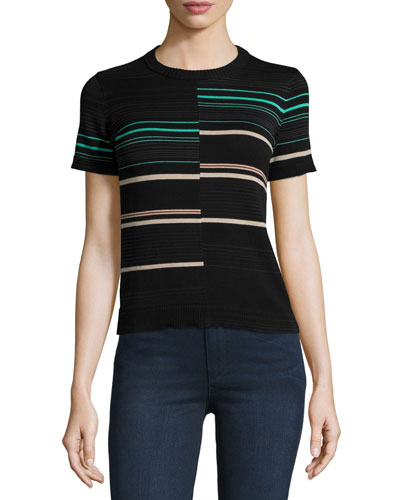 Mora Striped Short-Sleeve Sweater