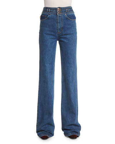 Wide-Leg Cotton Denim Jeans with Star