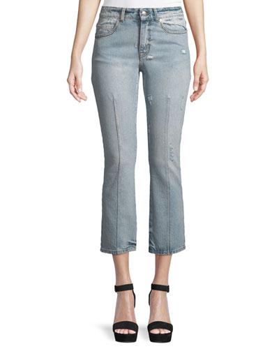 Bleached Denim Skinny Jeans, Light Denim