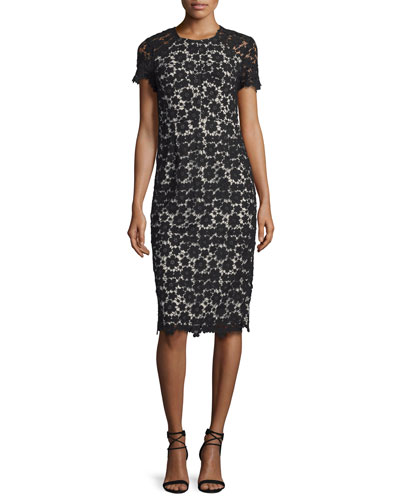 Short-Sleeve Lace Midi Sheath Dress, Black/Ivory