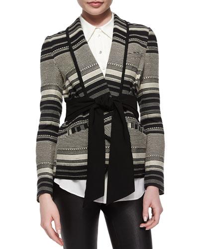 Brighton Tie-Waist Striped Jacket