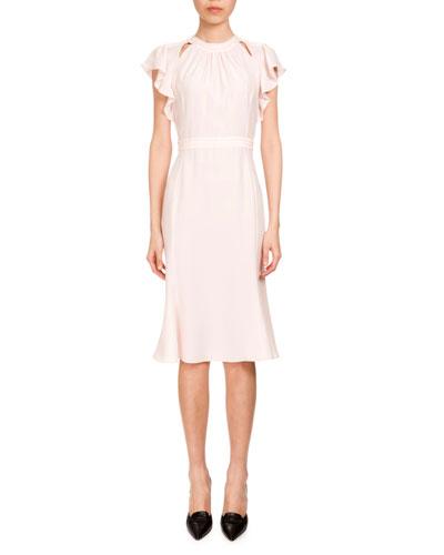 Ruffled Short-Sleeve Crepe de Chine Dress, Blush
