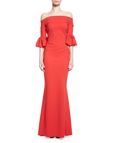 Padma Off-the-Shoulder Jersey Gown, Passion