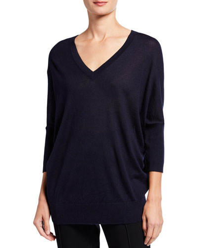 V-Neck Cashmere-Silk Batwing Sweater