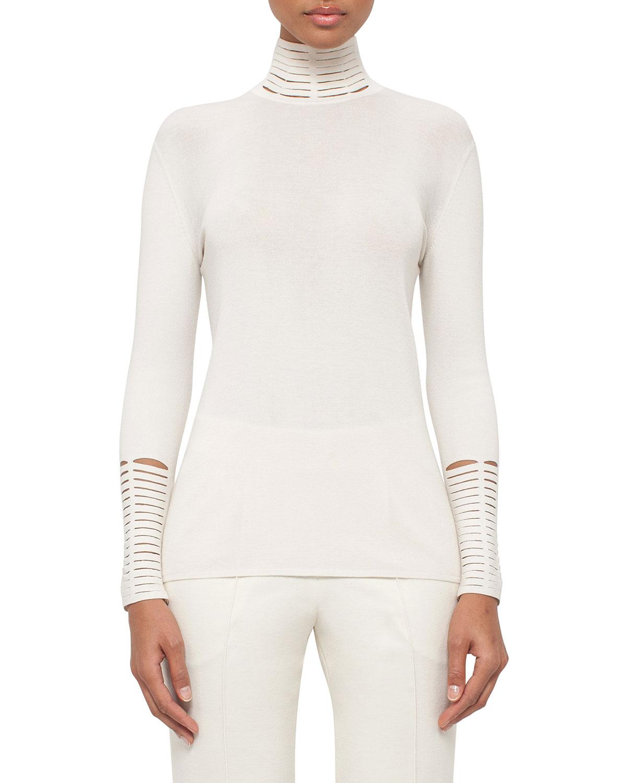 Massai-Trim Turtleneck Sweater
